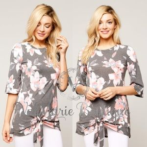 Gray floral side knot top